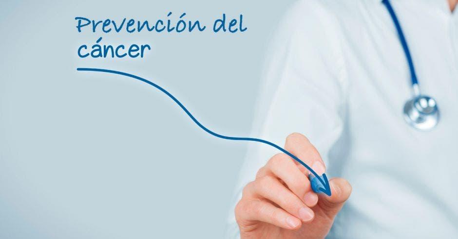 Una imagen de una persona escribiendo y la palabra prevención del cáncer