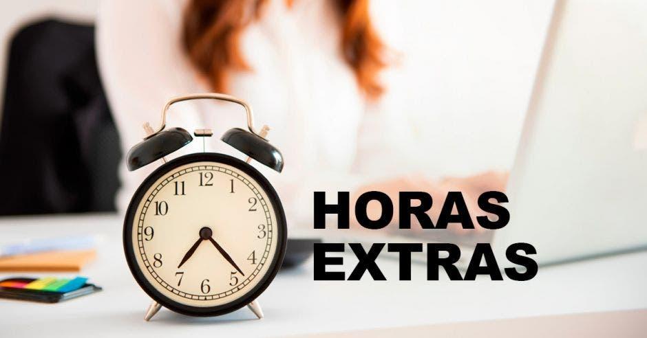 Un reloj y la palabra horas extras