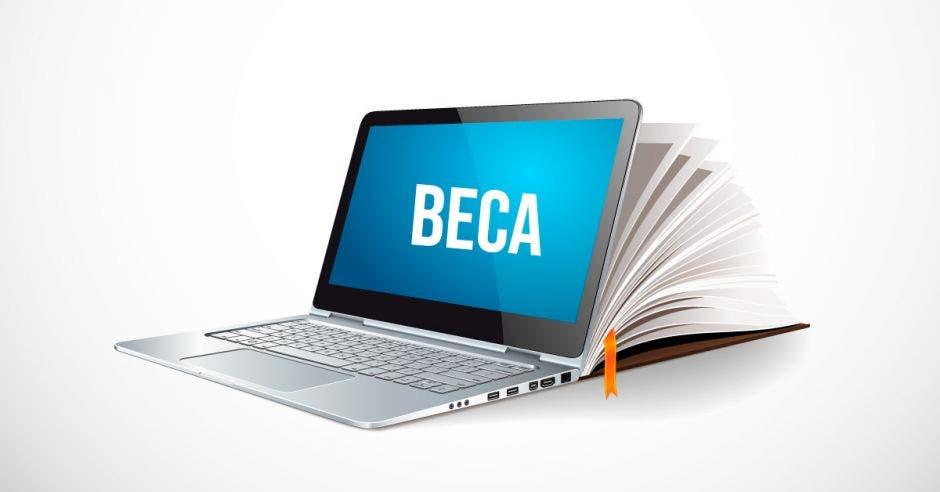 Una coputadora con la palabra beca y un libro