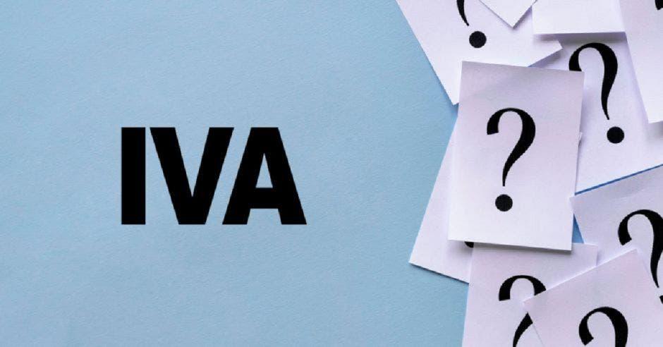 La palabra IVA y varios signos de interrogación