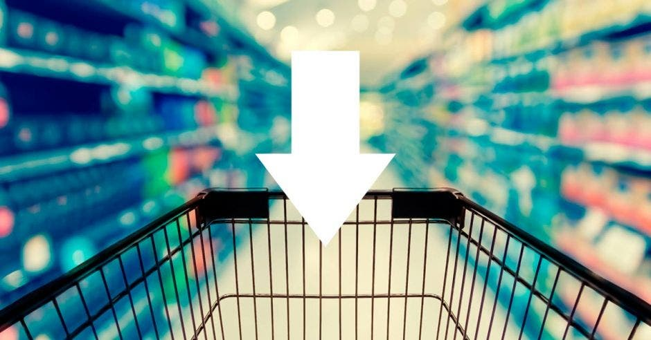Carrito de compras con flecha hacia abajo