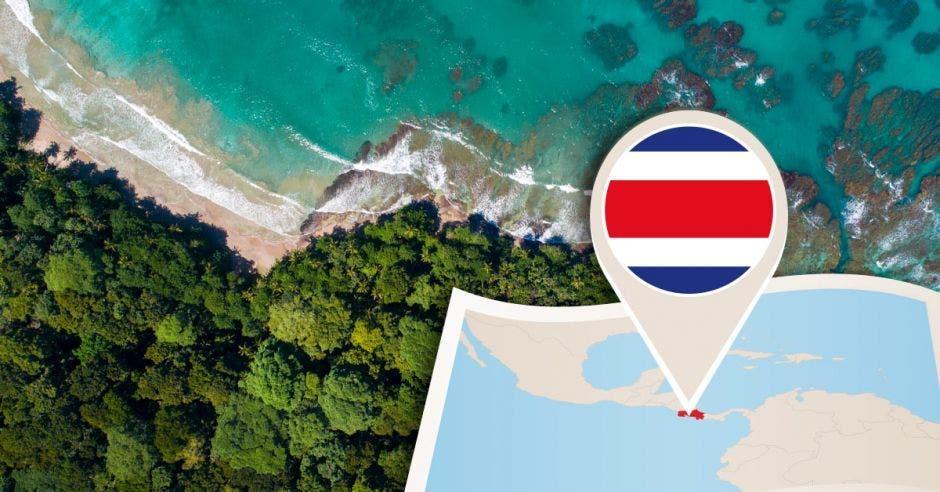 Mapa de Costa Rica y playa