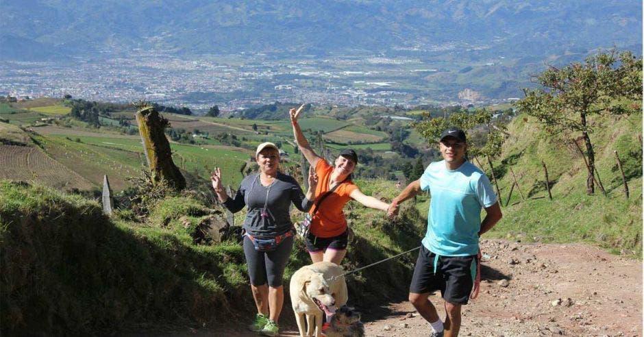 personas en montaña y perros