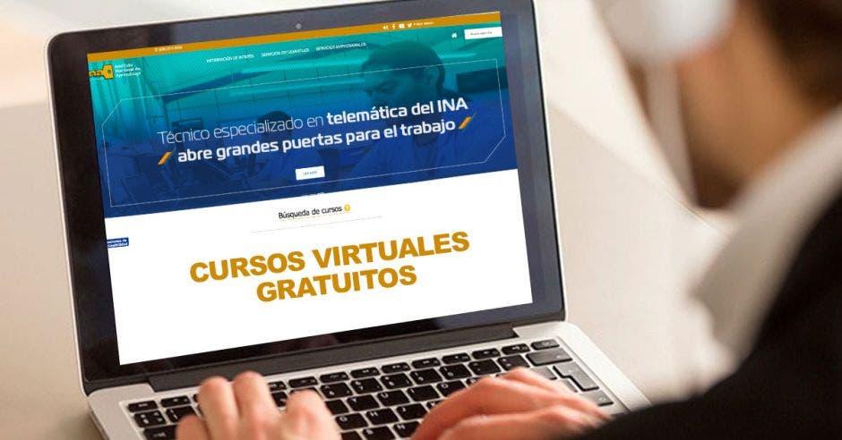 Una computadora y en la pantalla cursos virtuales gratuitos