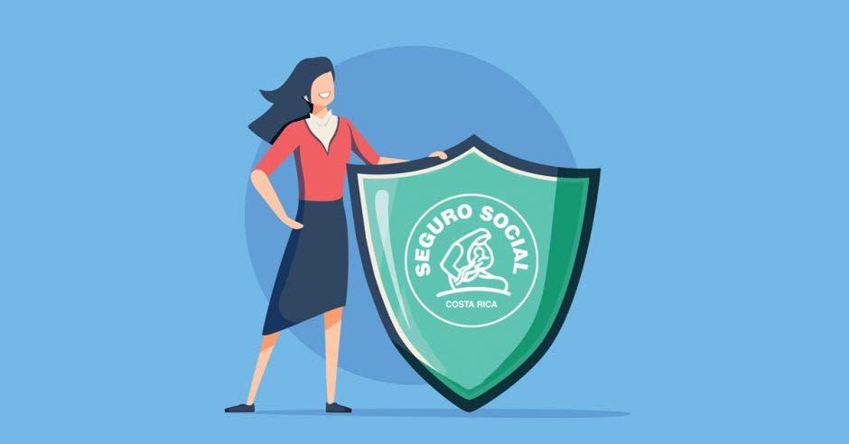 Una mujer con un escudo y el logo de la Caja