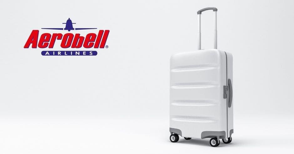 Una maleta con el logo de Aerobell