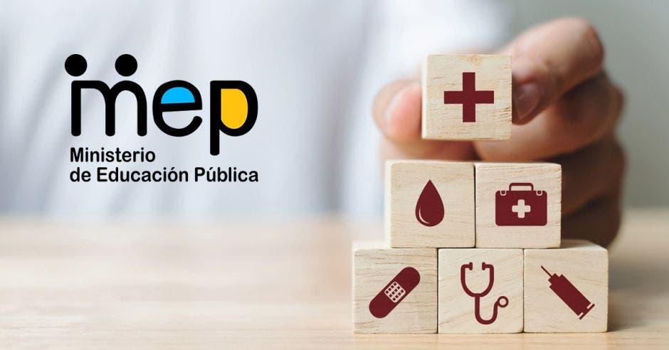 El logo del MEP y unos dados con símbolos de salud