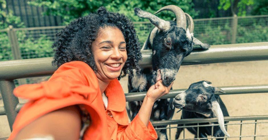 Una mujer se toma una selfie con una cabra