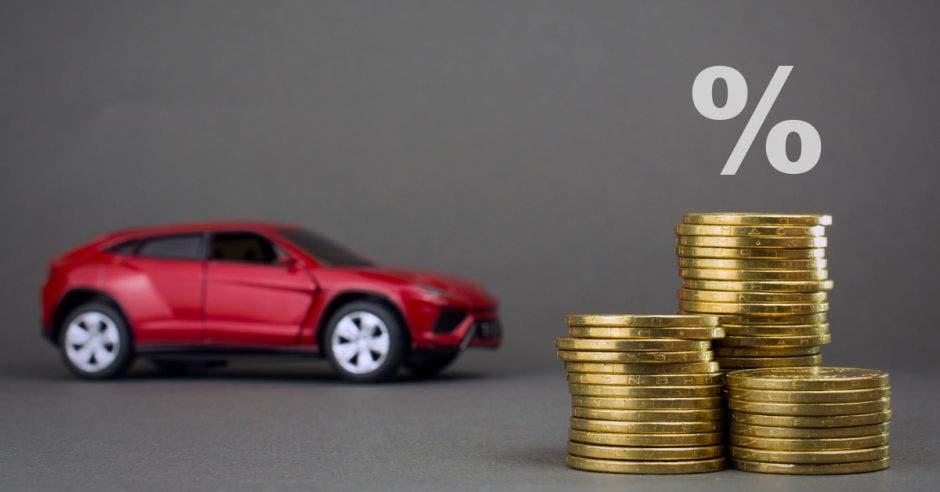 Auto, porcentaje, monedas
