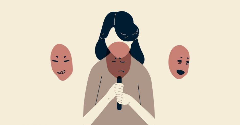 Una mujer con un rostro de tristeza