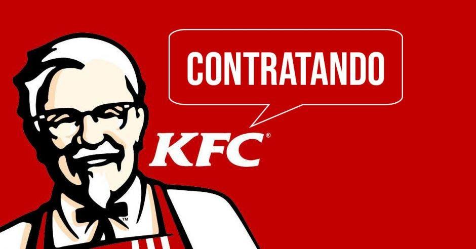 Una imagen del coronel Sanders con la palabra KFC Contratando