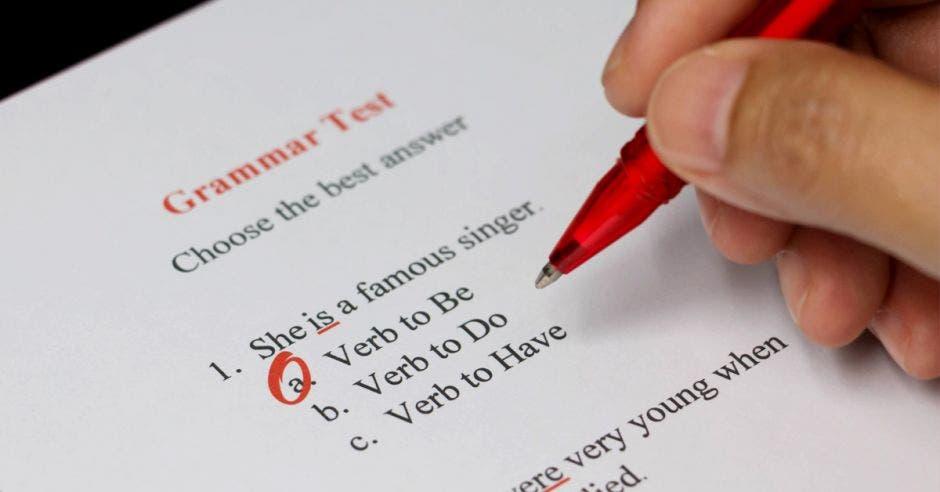 Un examen de inglés