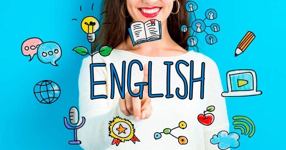 Una mujer con la mano y señalando la palabra english