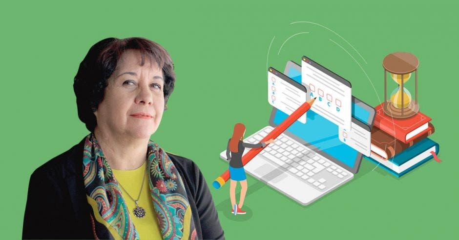 Guiselle Cruz, ministra de Educación con una ilustración de una computadora