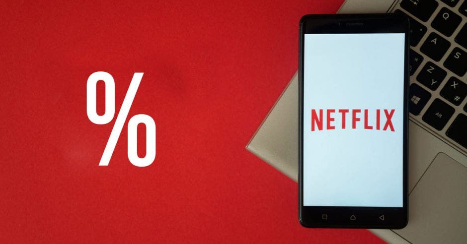 Un signo de porcentaje junto a la plataforma de Netflix