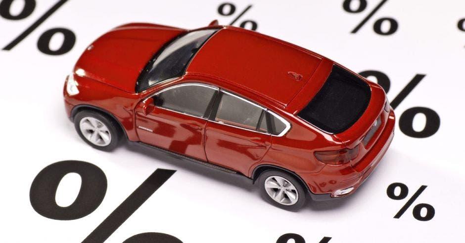 foto de un vehículo rojo de juguete, tipo SUV, sobre un papel blanco con símbolos de porcentajes