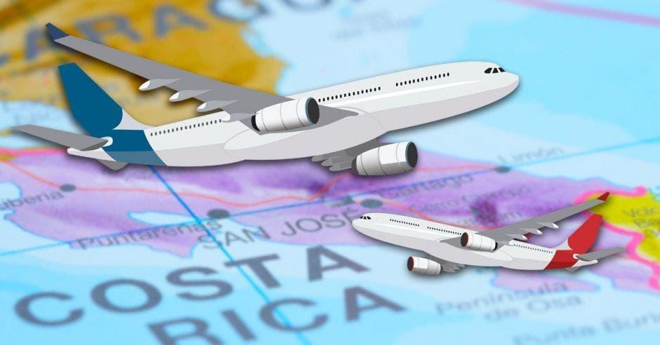 Dos aviones volando sobre mapa de Costa Rica