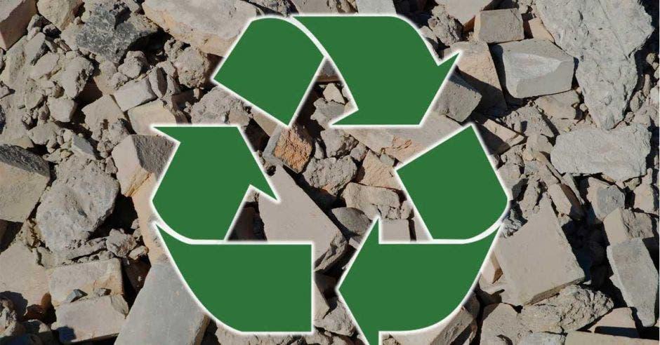 cemento y piedras, símbolo de reciclaje