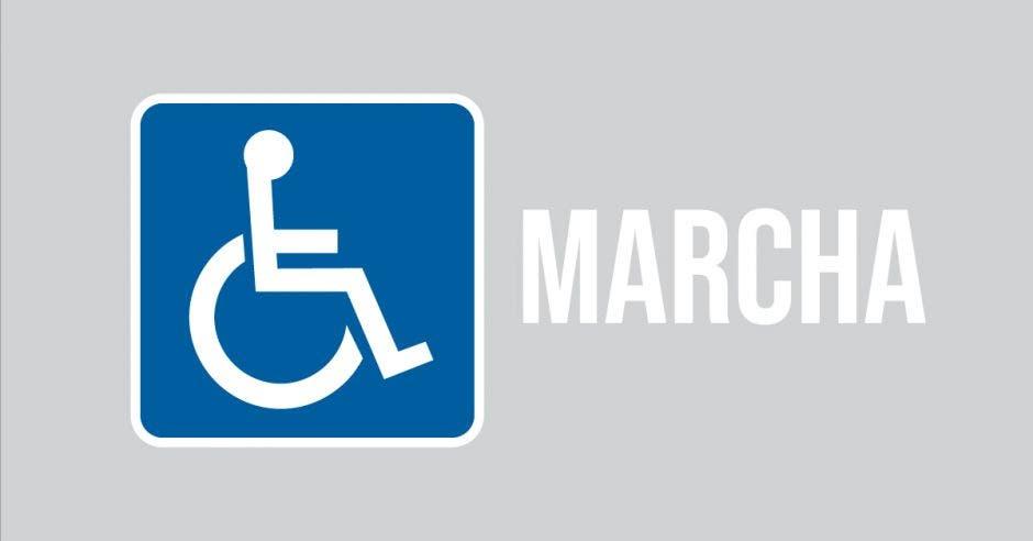 simbolo de discapacitados y marcha