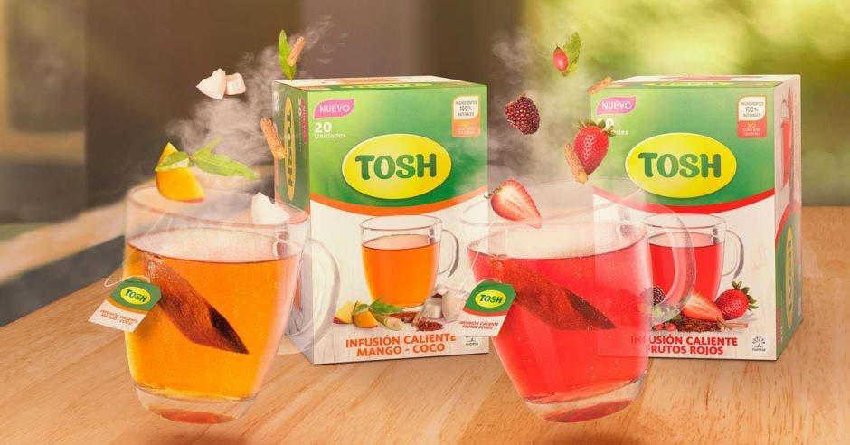 Empaques de tés tosh en tres presentaciones distintas