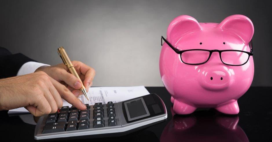 Alcancía de chancho rosado con anteojos a la par de una persona usando una calculadora y escribiendo
