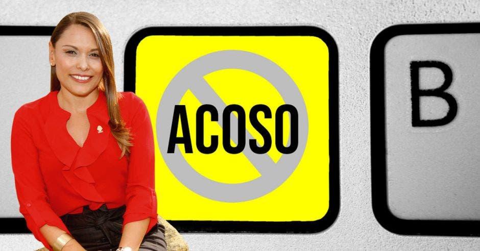 Una imagen en donde aparece Ivonne Acuña con un fondo amarillo y la señal de no al acoso