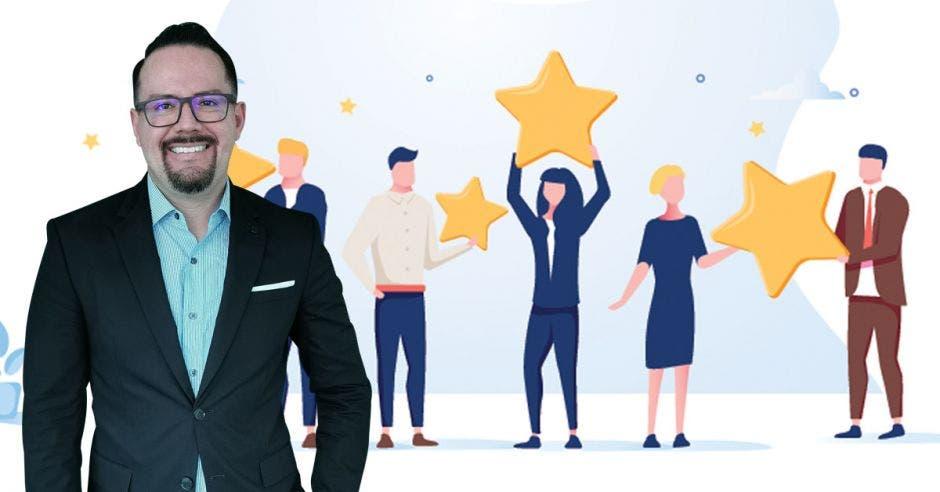 Diego Benítez al frente de una variedad de clientes con estrellas de calificación hacia la empresa