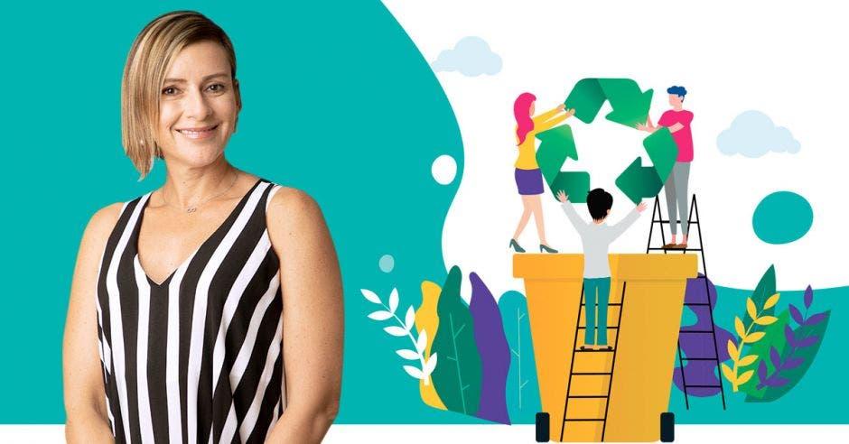 Karla Chaves posa junto a una imagen que representa el concepto de reciclaje