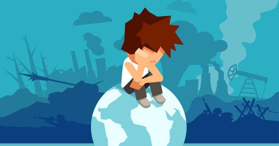 Un niño se sienta triste sobre el planeta tierra. Un fondo azul acompaña la imagen.