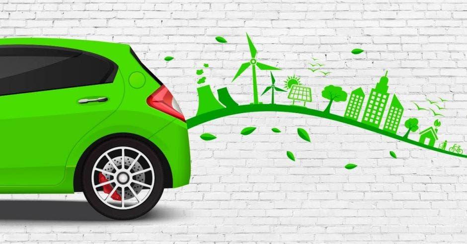 carro verde y ráfaga de arboles
