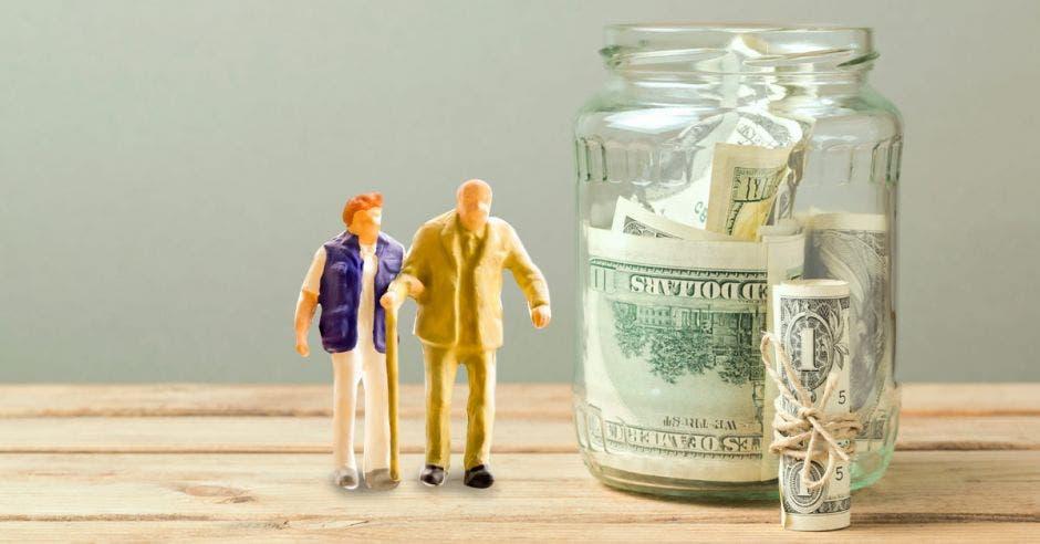 Dos figuras de plástico de ancianos y un bote lleno de dinero