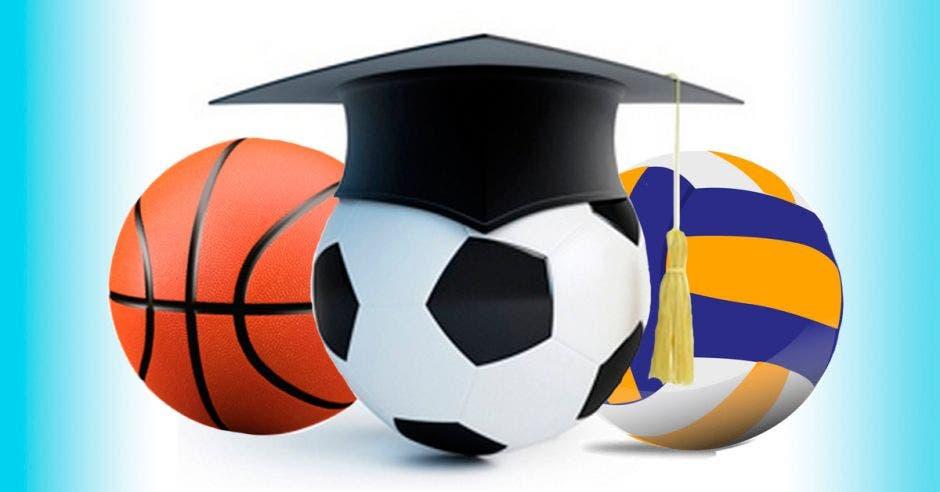 Tres balones de deportes y un birrete de graduación
