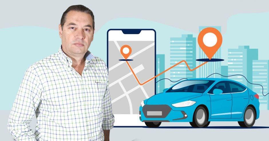 Roberto Thompson en primer plano y un fondo con un celular que simula un app de transporte.