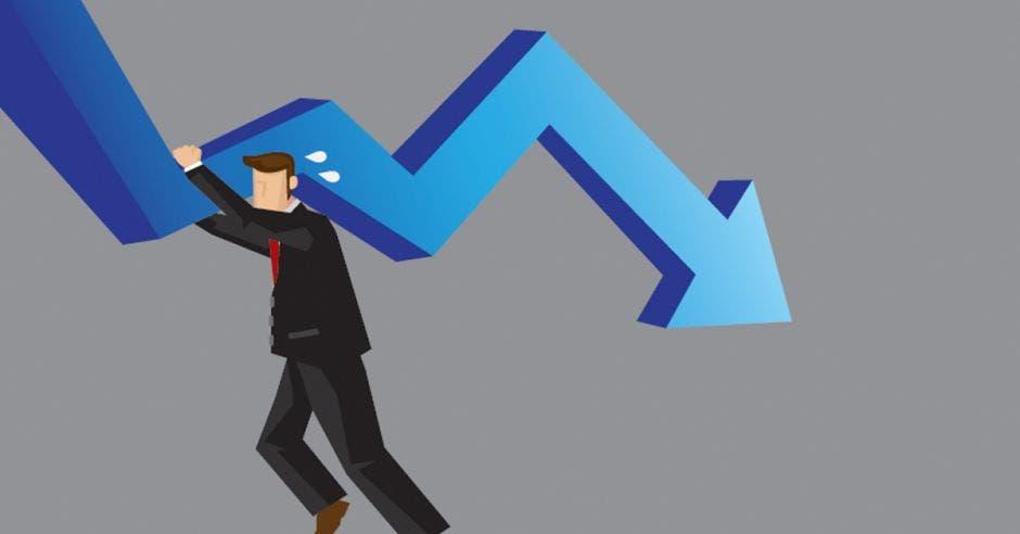 persona de traje entero negro levantando gráfico con flecha a la baja de color azul