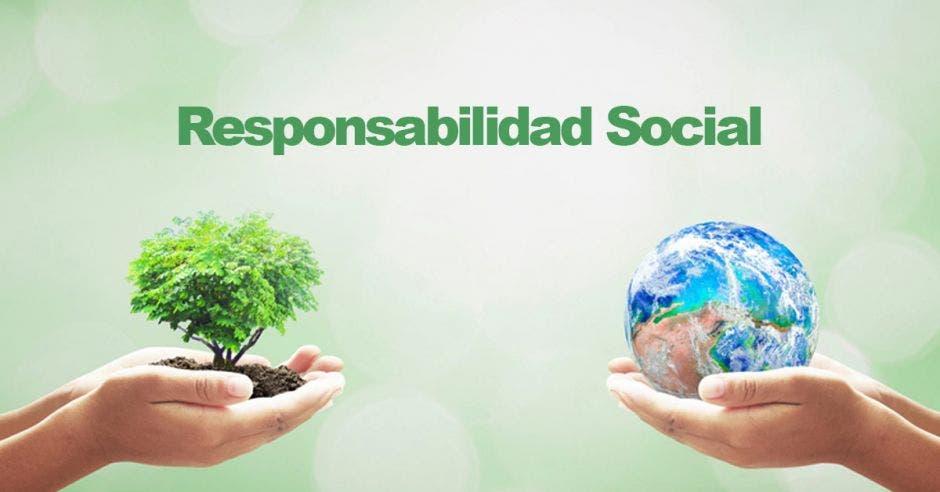 fondo verde transparente con letras en verde centradas arriba de que dicen responsabilidad social, al lado derecho mano sosteniendo un planeta y al izquierdo, mano sosteniendo un árbol