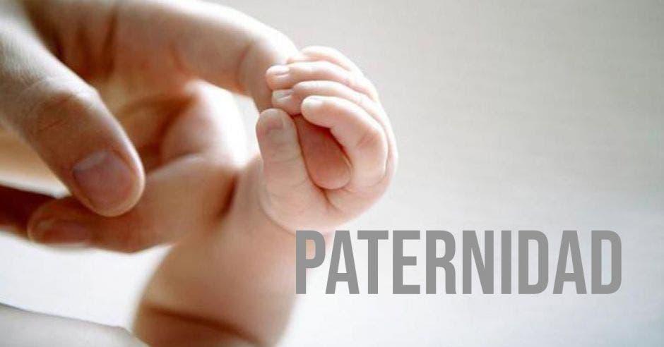 Una mano sosteniendo una mano de bebé y la palabra paternidad