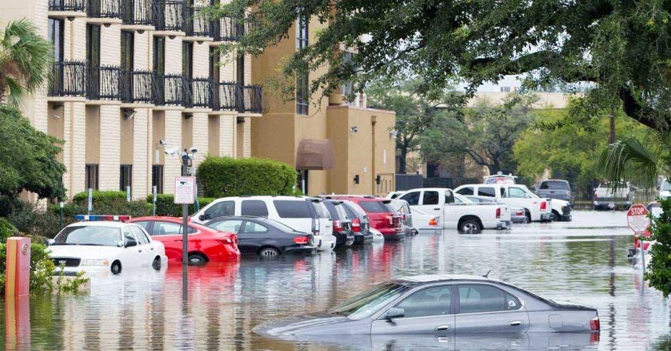 Automóviles sumergidos por el huracán Harvey en Houston, Texas