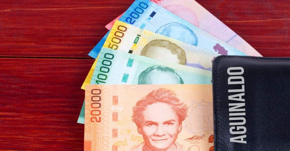 mesa de madera con billetes de varias denominaciones con una billetera con la palabra aguinaldo