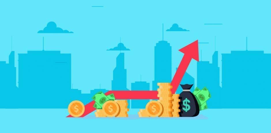gráfico con línea roja con monedas de dólar, billetes y bolsas de dinero, con flecha al alza, fondo turquesa con edificios.
