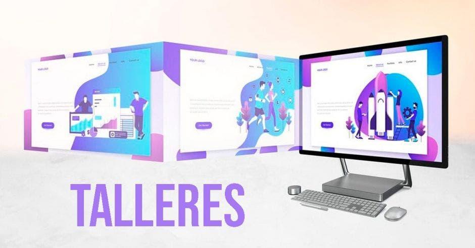 Una imagen de una computadora y la palabra talleres