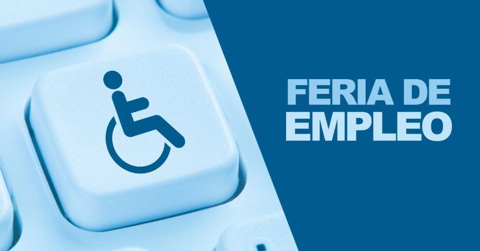 Un teclado con el ícono de discapacidad y la palabra Feria de Empleo