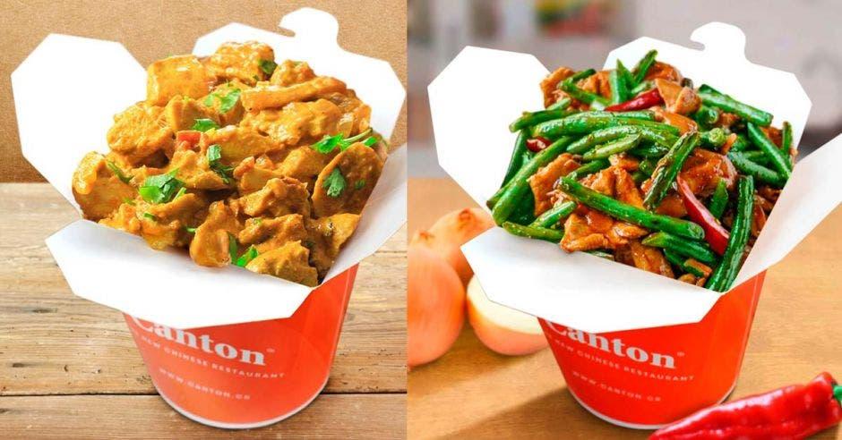 Un platillo de cantonés y otro de mongolian beef