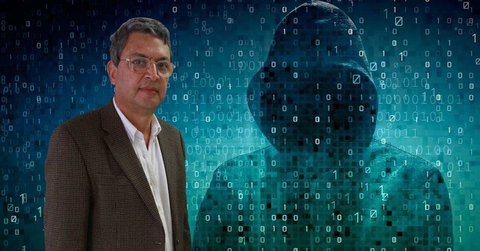 Un hombre simulando un ataque informático.