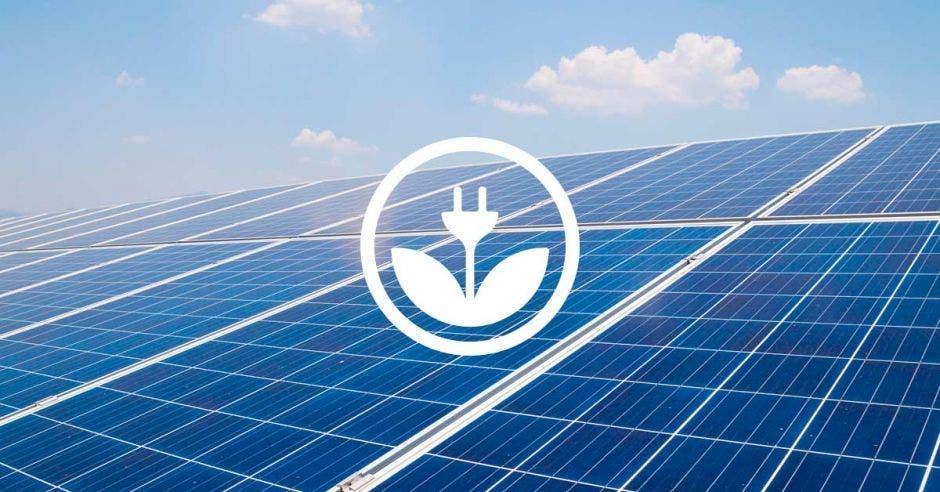 Un figura de paneles solares color azul