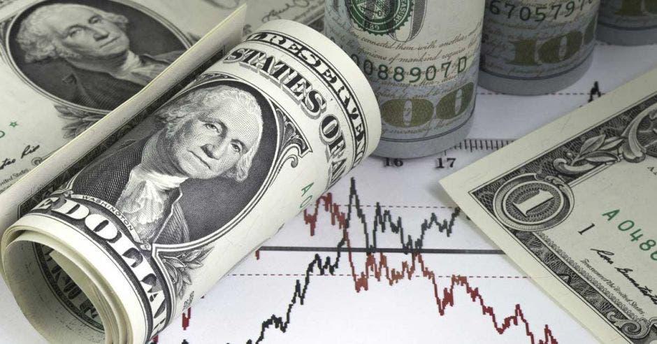 billetes de dólares enrollados encima de gráficos lineales