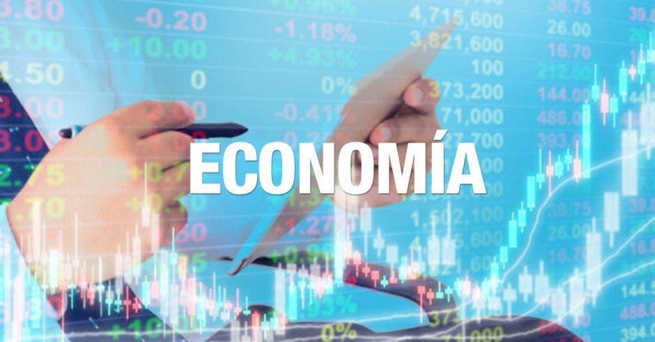 Una palabra dice economía con un fondo de una tableta