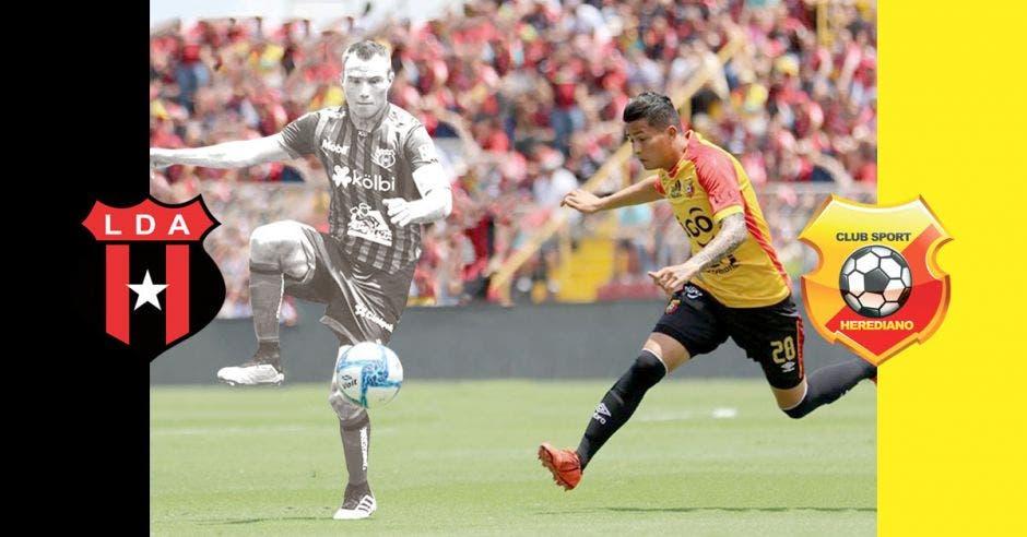 Una jugada en el Estadio Morera Soto, Kenner Gutierrez recibe un balón mientras lo marca Gerson Torres de Herediano.