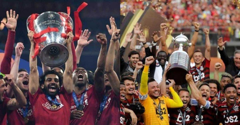 Salah del Liverpool con la copa de Champions levantada y sus compañeros de fondo a la izquierda, Diego capitán del Flamengo levantando la Libertadores con sus compañeros, a la derecha