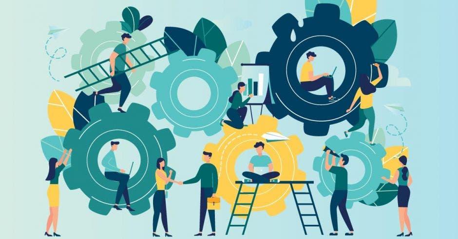 Múltiples personas haciendo tareas distintas en su empresa, como pintar, utilizar redes sociales, hablar con clientes, entre otras