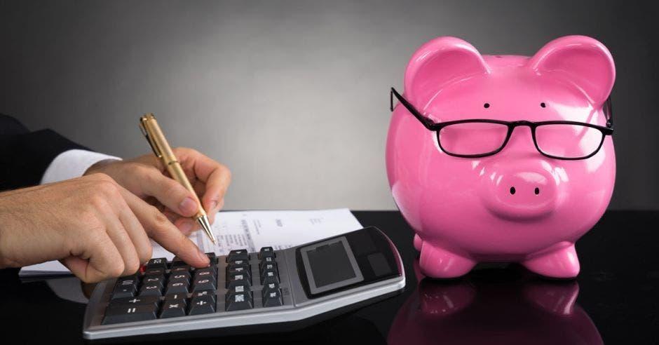 Cerdo de alcancía con anteojos junto a una persona sacando cuentas con calculadora, hoja y lapicero